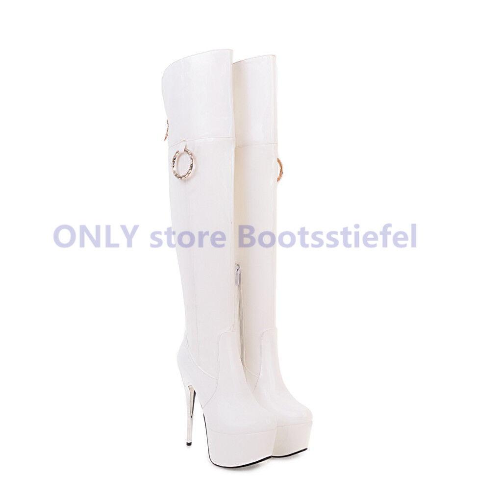 Super Sexy Stilettos Stilettos Stilettos Stiefel Overknee Lackleder Mode Damen Schuhe 32-48 Plateau ad189e