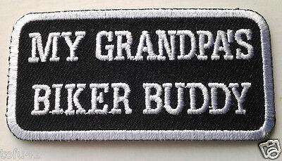 "KIDS BIKER PATCH /""MY GRANDPAS BIKER BUDDY/"" GIRLS BOYS NEW NICE"