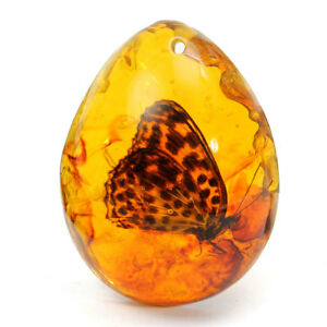 Fashion Resin Amber Butterfly Insect Stone Pendant Necklace Gift UK