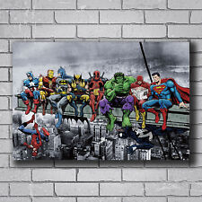 P1042 Superheros Collage Marvel DC Comics Hot Playing Billiards Silk Poster