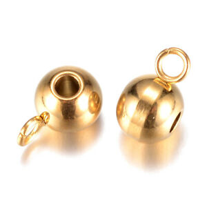 20pcs 304 Stainless Steel Bail Beads Round Smooth Hang Loop Gold Holder 2mm Hole