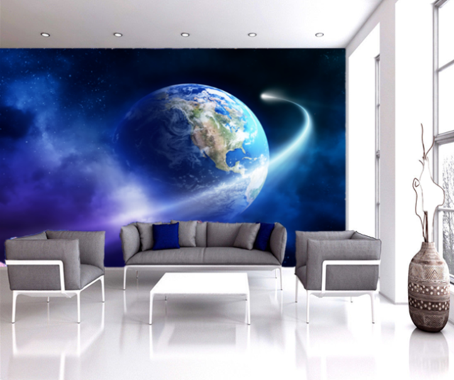 3D Blue Earth Cloud Space Self-adhesive kid\'s Bedroom Wall Mural Wallpaper  Decor