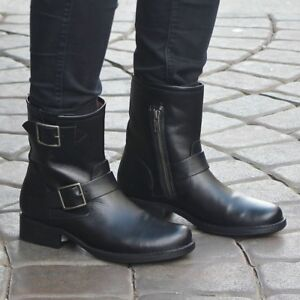 08f92a3a780 Details about FRYE Vicky Engineer Moto Buckle Boots Black Leather Women's  Sz 5.5 NWOB $348