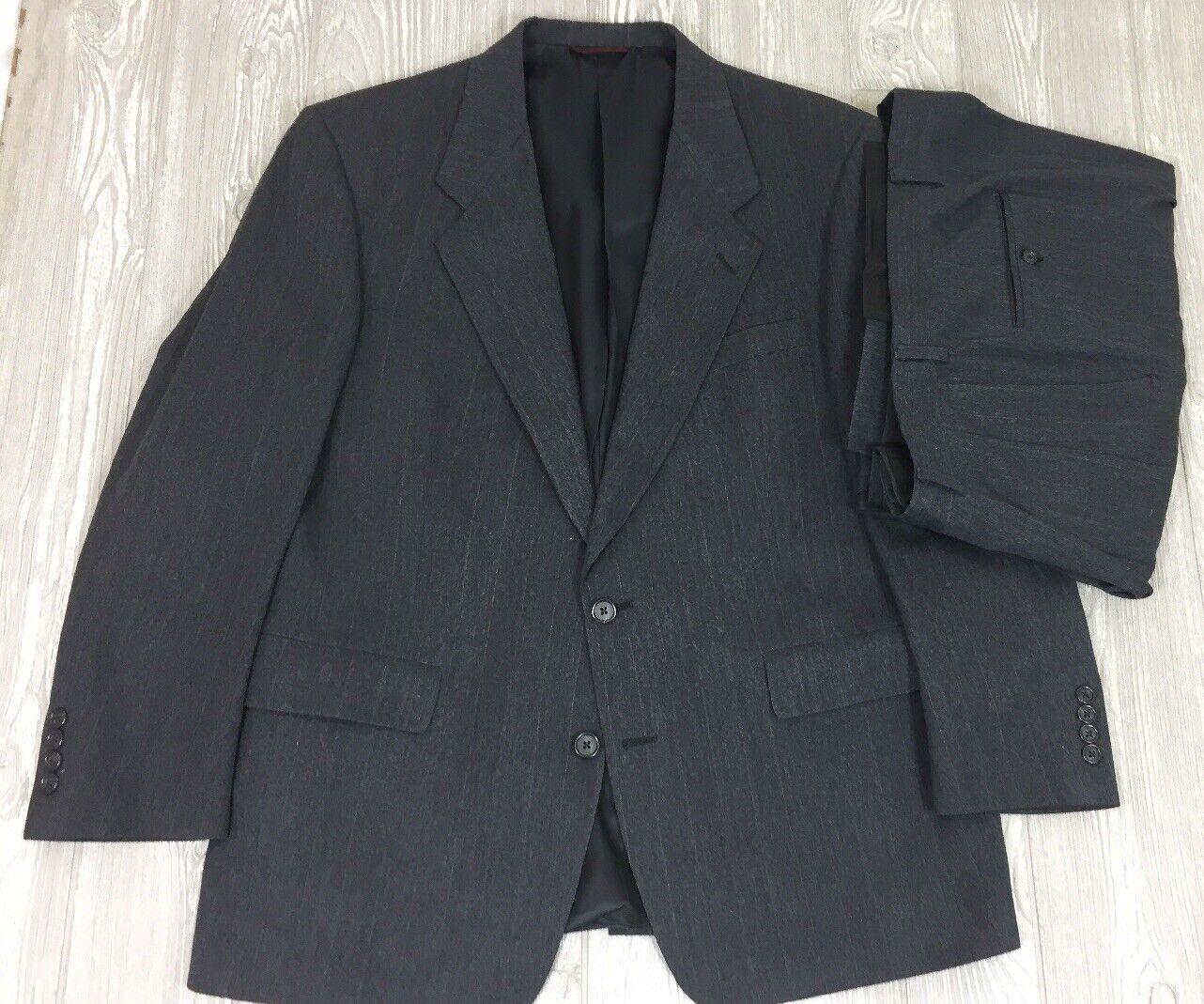 Vtg Hart Schaffner Marx Grey Striped Wool 2pc Suit 42 Short 38x28 (t9)