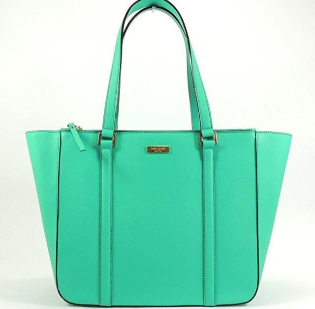 Kate Spade Newbury Lane Briar Green Leather Tote Handbag Shoulder Bag Wkru2100