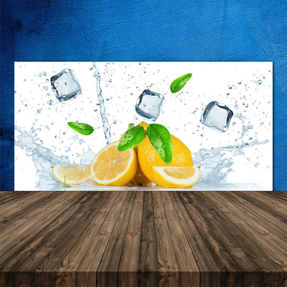 Crédence de cuisine en verre Panneau 120x60 Cuisine Citron Vert Lime Cubes Glace