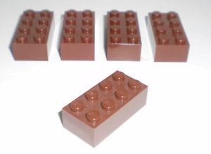 JEU-JOUET-ENFANT-Personnage-LEGO-Lot-5-BRIQUES-2X4-MARRON-BRUN