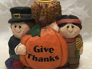 Eddie Walker Midwest Of Cannon Falls Thanksgiving Candle Holder Pilgrim