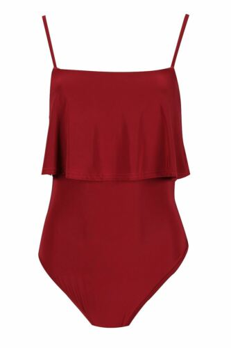 Ladies Thin Strappy Peplum Ruffle Frill Sleeveless Bodysuit Womens Leotard Top