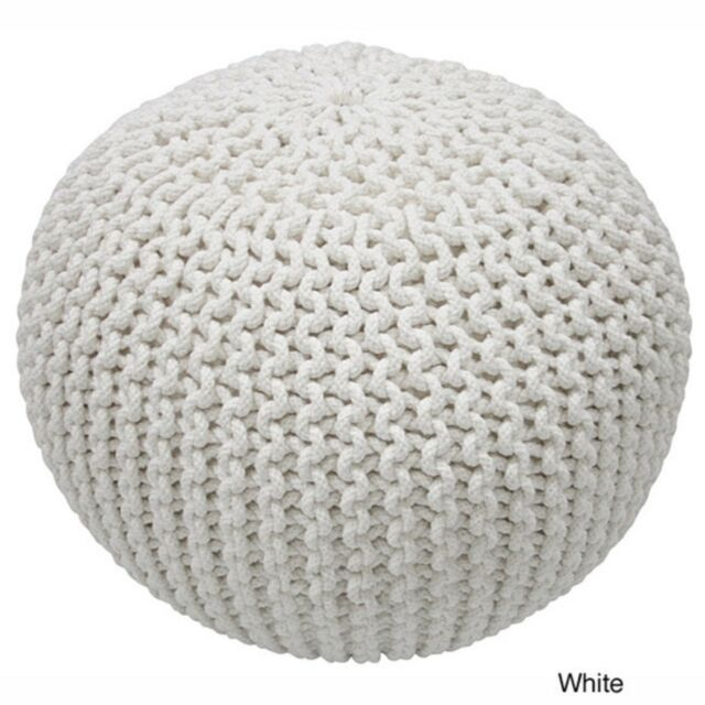 Super Handmade Casual Living Decorative Footstool Round Throw Disco White Cables Pouf Cjindustries Chair Design For Home Cjindustriesco