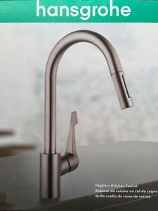 New Hansgrohe Cento High Arc Kitchen Faucet Steel Optik Finish EBay - Hansgrohe cento kitchen faucet