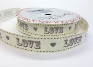 5m-Bertie-039-s-Bows-Grey-034-Love-034-Vintage-Font-on-16mm-Ivory-Grosgrain-Ribbon-Wedding