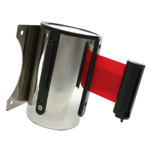 5m Security Queue Barrier Strap Auto Retracting with Strips Wall Fixed Red