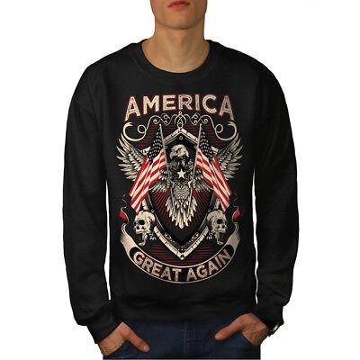 Herzhaft Wellcoda America Is Great Fashion Mens Sweatshirt, Casual Pullover Jumper