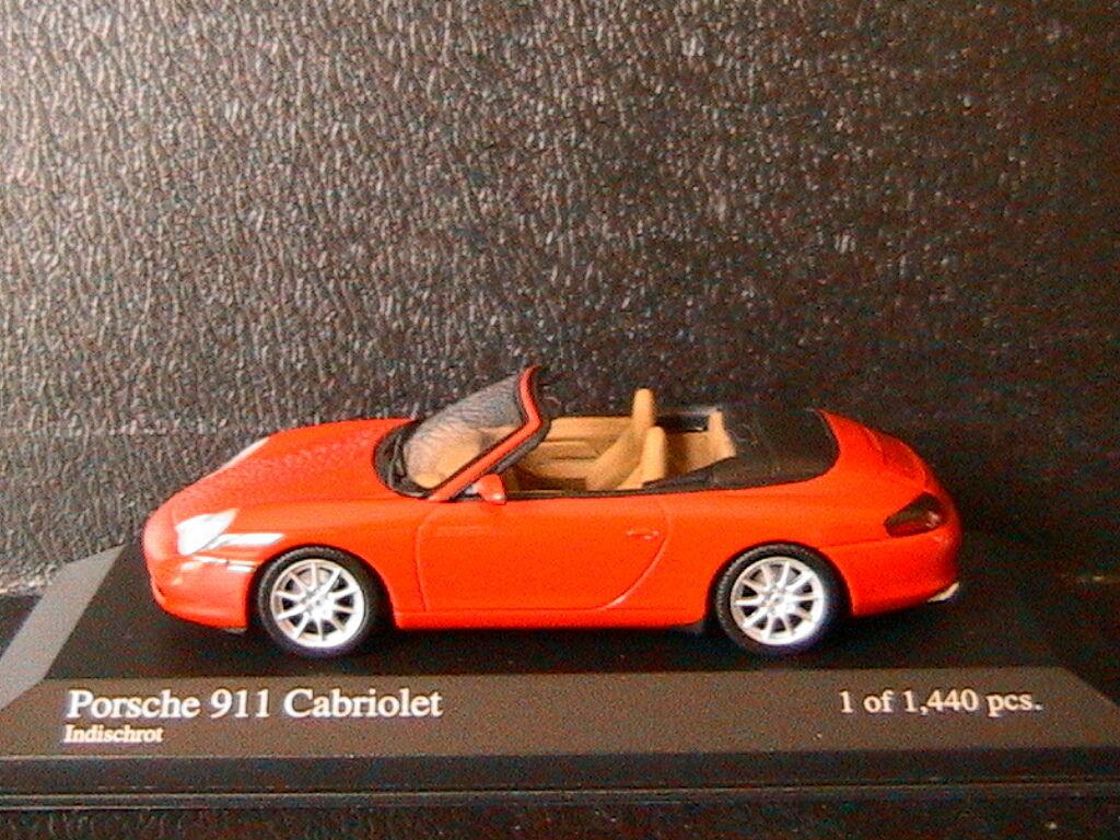 PORSCHE 911 996 CARRERA CABRIOLET 2001 INDISCHrouge MINICHAMPS 400061034 1 43 rouge