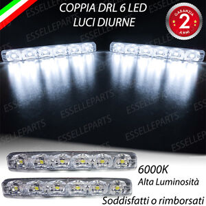 Luci diurne drl 6 led universali colore bianco daylight for Luci diurne a led