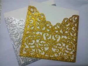 Details About 25 50pc Glitter Wedding Invitation Card Kit With Envelopes Personalized Printing