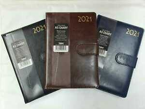 2021 A5 Week to View Diary Leatherette Soft Leather Cover Embossed Stitched