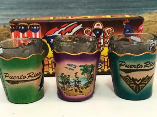 NEW PUERTO RICO BORICUA LEATHER SHOT GLASS SET of 2 or 3 PICK YOUR FAVORITE