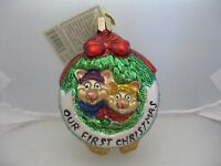 Old World Christmas togetherness Our First Christmas Mice Glass Ornament