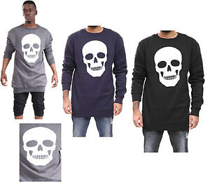 New-Mens-Boys-Skull-Print-Long-Line-Long-Sleeve-Casual-Fleece-Jumper-Top-S-XL