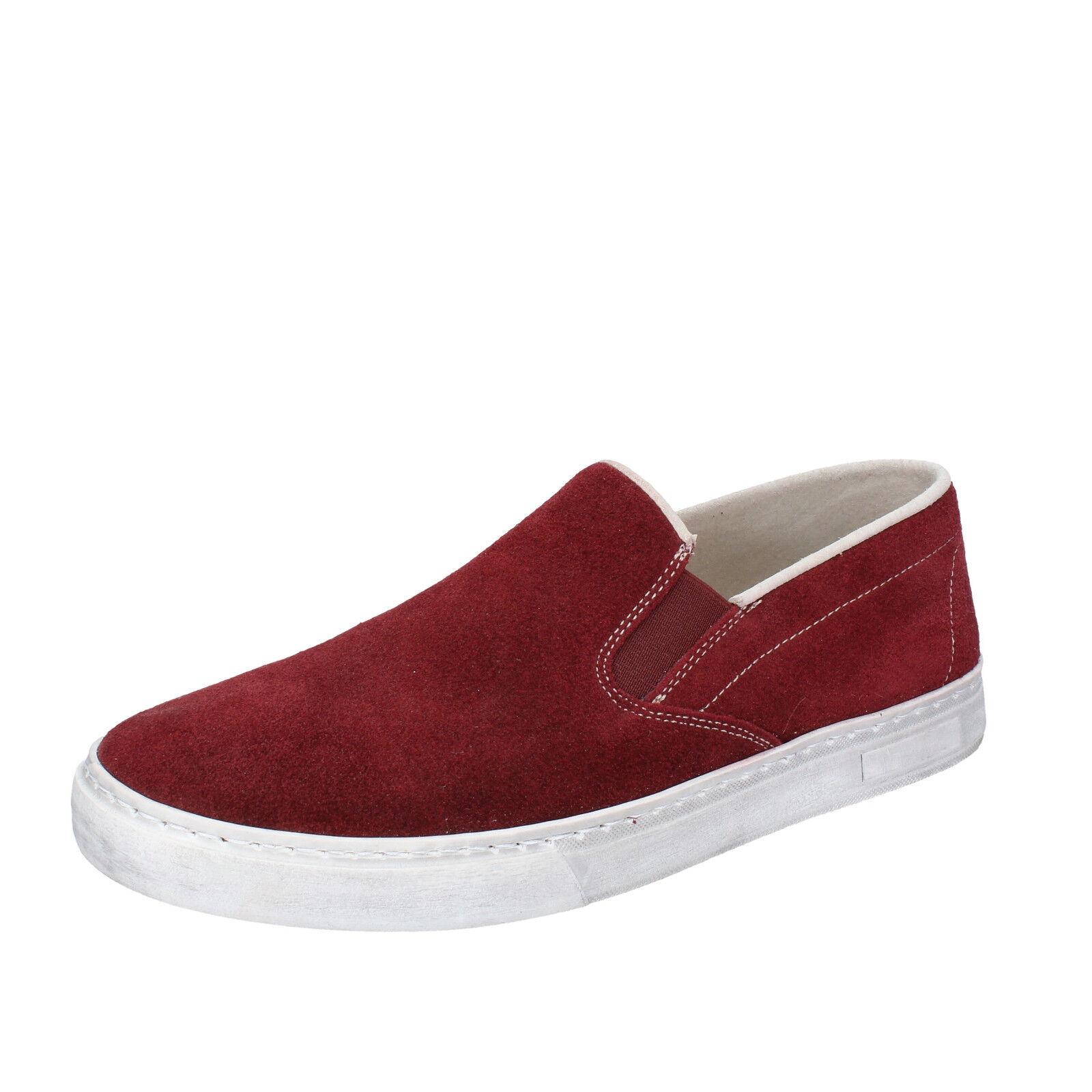 scarpe uomo NYON BY CORAF 40 slip on bordeaux camoscio BZ901-C