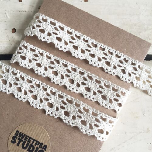 20m Full Roll 20mm 2cm Pretty Ivory Cream Cotton Crochet Lace Ribbon Trim 1m
