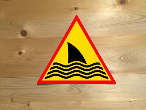 Shark Warning Vintage Retro ENAMEL METAL TIN SIGN WALL PLAQUE