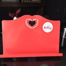 SMALTO Retrò Cuore Rosso Libro Cucina Ricette Stand Supporto Supporto di metallo da cucina