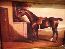 Country French Framed Oil Painting-Horse By Stable