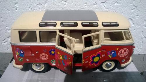 VW Bus Combi Volkswagen T1 peace & love 1/24eme 17cm rouge neuf metal
