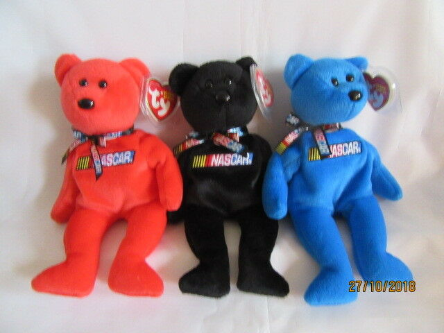TY BEANIE BABY NASCAR RACER THREE BEARS - MINT CONDITION