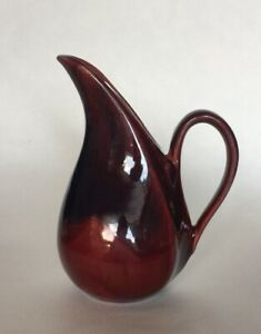 Vintage MCM Art Pottery EWER PITCHER VASE RED/Blue Glossy Glaze Artist Signed
