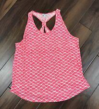 Lucky Lotus Brand Womens XL Pink Coral Geometric Print Racer Back Tank Top Shirt