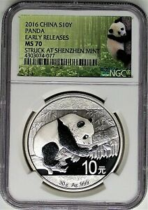 2016-China-10-Yn-30g-Silver-Panda-NGC-MS70-Early-Releases-Struck-at-Shenzhen
