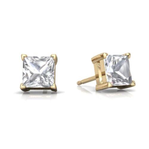 14Kt Yellow Gold White Topaz Princess Cut Stud Earrings
