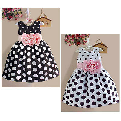 2015 Baby Kids Girls Party Sleeveless Polka Dot Flower Gown Formal Dress 2-7Y