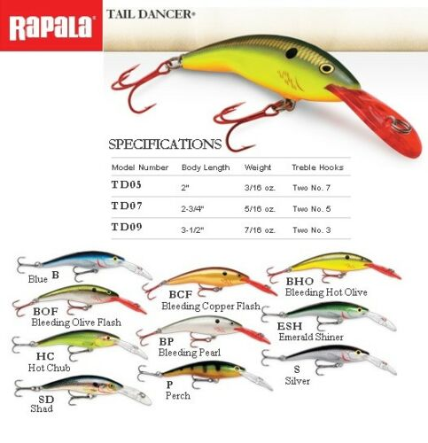 Rapala Tail Dancer 5-9 cm 6-13g Fishing Lure Balsa WoodVarious Colours