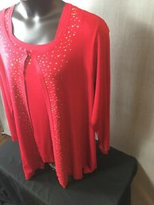 FORMAL-Suit-WOMENS-2X-Plus-Size-22-24-RED-SWEATER-KNIT-JACKET-TANK-GOLD-BEADS