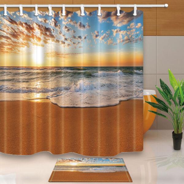 Nautical Beach And Ocean At Sunset Bathroom Fabric Shower Curtain ...