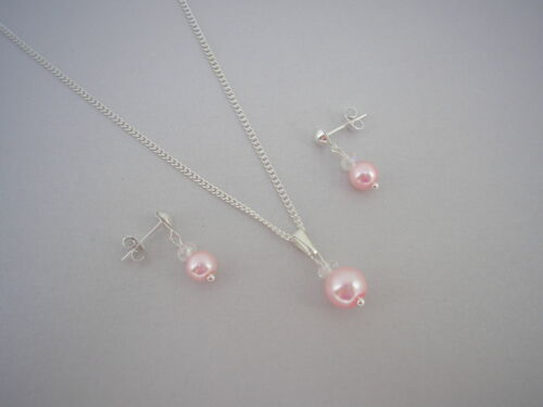 Pearl /& Crystal Necklace /& Earrings Set for women brides Bridesmaids Wedding 15L