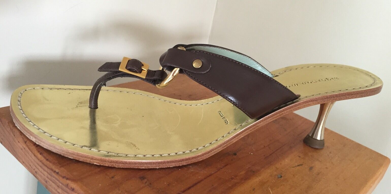 SIGERSON MORRISON braun Leather Kitten Heel Mule  340 7.5