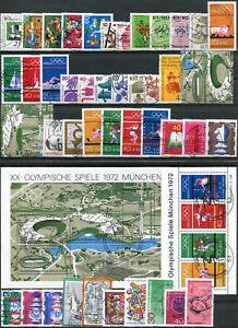ALLEMAGNE-FEDERALE-ANNEE-COMPLETE-1972-Obliteres-N-559-602-BF-N-6-7