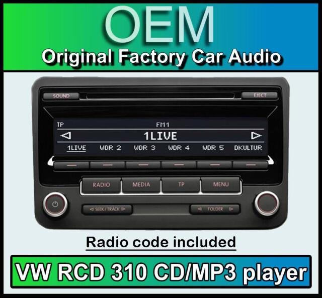 VW RCD 310 CD MP3 player, VW Passat CC car stereo head unit with radio code