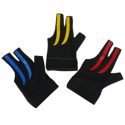 Snooker Billiard Cue Spandex Gloves Pool Left Hand Open Three Finger Glo Tu