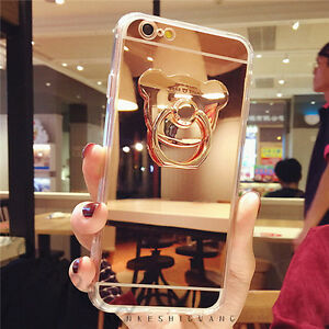 separation shoes a0552 8337e Details about 3D Cute Chrome Mirror Metal Ring Holder Stand Bear Case Cover  for Cell Phones
