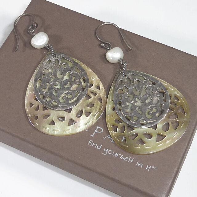 Silpada W1525 Sterling Silver MOP Teardrop Earrings 925 Cut Out Mother of Pearl
