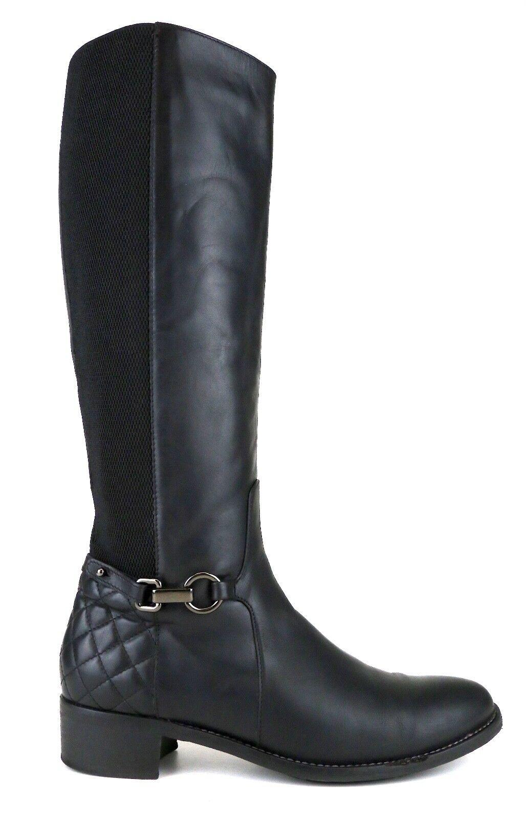 Aquatalia By Marvin K. Side Zip Knee Knee Knee High Leather Boot Black Women Sz 9.5 5291  71b3ae