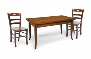 Dettagli su Tavolo legno allungabile rettangolare + 4/6 sedie legno  massello seduta legno