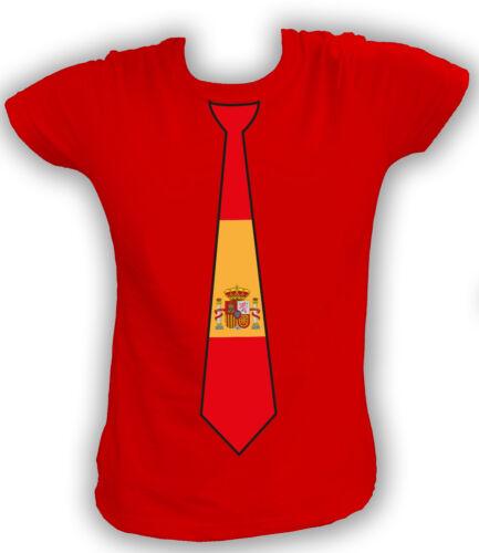 Damen T-Shirt KRAWATTE FAN FLAG Spanien España Spain Madrid Barcelona Football E